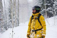 skier in snow flurries
