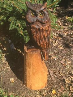 Chainsaw Carving, owl, carved, chainsaw carved, statue, art, wood sculptures | #1893134308