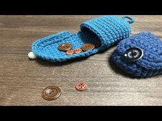 コロンとしたコインケース作ってみました☆How to make a coin case Crochet Cake, Crochet Handbags, Crochet Videos, Crochet Projects, Purses And Bags, Diy And Crafts, Baby Shoes, Coin Purse, Crochet Patterns