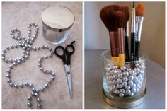 Makeup brush holder from candle jar and Mardi Gras beads.