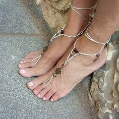 Wedding anklets  macrame barefoot sandals by MammaEarthCreations, $48.00
