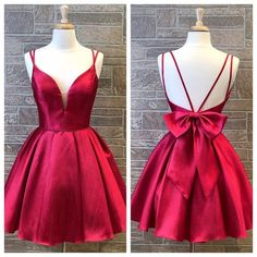 Cute Red Double Straps Satin Homecoming Dress with Bow Back,Simple Red Short Prom Dress sold by SeventeenProm. Shop more products from SeventeenProm on Storenvy, the home of independent small businesses all over the world. Short Red Prom Dresses, Simple Homecoming Dresses, Semi Formal Dresses, Hoco Dresses, Event Dresses, Dresses For Teens, Junior Dresses, Simple Dresses, Wedding Dresses