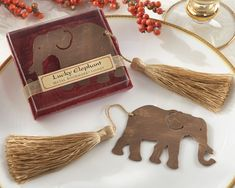 Lucky Elephant Metal Bookmark with Elegant Gold Silk Tassel Elephant Bookmark] : Wholesale Wedding Supplies, Discount Wedding Favors, Party Favors, and Bulk Event Supplies Indian Wedding Favors, Wedding Gift Bags, Wedding Favours, Party Favors, Indian Weddings, Wedding Bells, Wedding Souvenir, African Weddings, Wedding Wishes
