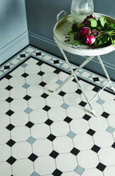Victorian Floor Tiles by Original Style. Conrad border with Nottingham pattern. - Victorian Floor Tiles by Original Style. Conrad border with Nottingham pattern. Victorian Tiles, Victorian Kitchen, Victorian Bathroom, Victorian Decor, Victorian Flooring, Hall Tiles, Tiled Hallway, Hall Flooring, Kitchen Flooring