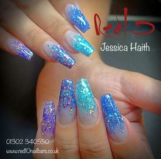 Acrylic Nails, Glitter Nails, Blue Nails, Party Nails, Prom Nails, Nail Harmony