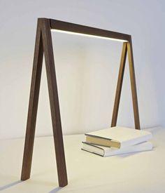 TRESTLE DESK LAMP  Materials: Wood, LED lights Dimensions: 25L x 16H x 5W
