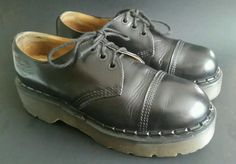 DR MARTEN BLACK LEATHER CAP TOE GIBSON / OXFORD SHOES. Style - Gibson. Lots of life still left in these shoes! Material - Leather. Left shoe has a small area of defect in the edge of the ankle. Soles and heels have wear. | eBay!