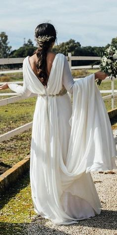 greek wedding dresse simple a line with long sleeves v back kiwo estudio