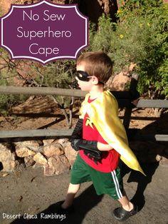 No-Sew-Superhero-Cape from DesertChicaRamblings.com #Halloween #DIY