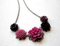Flower Necklace - Purple Black Flower Cabochon Necklace