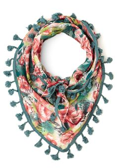 Backyard Potluck Scarf in Teal. Wrap the lightweight fabric of this tasseled scarf atop your summery ensemble to bring a serious helping of style to today's gathering. #green #modcloth