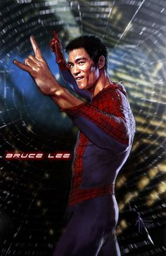 SpideyBruce. Bruce Lee fan art mashup