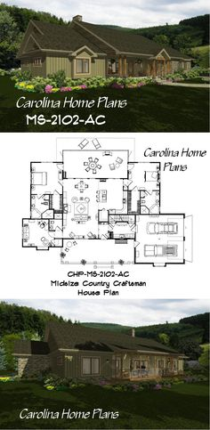 Country craftsman house plan for downsizing with bonus room above garage (see more styles) 3d House Plans, Porch House Plans, Rustic House Plans, House Plans One Story, Craftsman Style House Plans, Bedroom House Plans, Best House Plans, Small House Plans, Room Above Garage