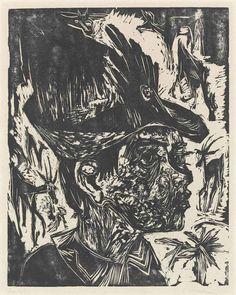 Ernst Ludwig Kirchner (German, 1880-1938), Ziegenhirt [Goatherd], 1918. Woodcut on heavy wove paper.
