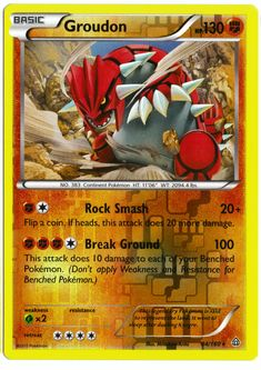 Rare Groudon reverse holographic card, in near mint condition! Comes with a soft…
