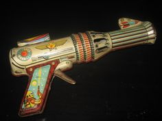 Vintage RARE Greek Tin Litho Sparking Space Gun Erly 60s | eBay