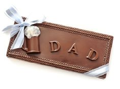 Solid chocolate Dad Bar is a sweet treat to celebrate his special Day. Each bar is hand-made with the finest milk, dark or white chocolate.  #GlutenFree #Chocolate #FathersDay #Gift #Dad