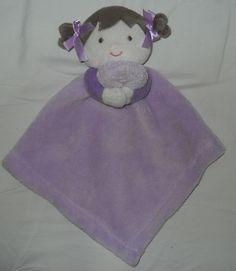 Blankets & Beyond Purple Girl Doll Security Blanket Lovey Brown Hair Brunettte #BlanketsandBeyond
