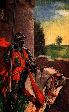 """Sir Lancelot rode sadly away, & did not look up at Elaine."" J. Allen St. John"
