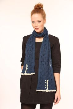 Lowie Mohair Lacy Scarf - Navy