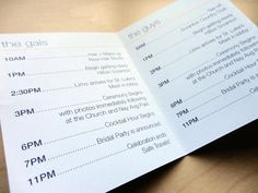 Interior of the pocket sized wedding day schedules.