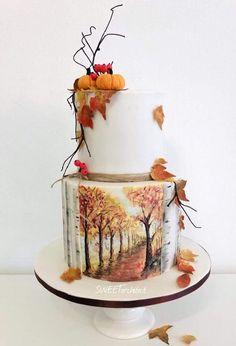 Maľovaná jesenná torta, Autor: SWEETarchitect Shared by Career Path Design Pretty Cakes, Beautiful Cakes, Amazing Cakes, Beautiful Desserts, Unique Cakes, Creative Cakes, Fondant Cakes, Cupcake Cakes, Shoe Cakes