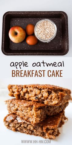 This healthy apple cake is delicious and super easy to make - it's kinda like a baked oatmeal recipe, but better. This healthy easy breakfast recipe is delicious and you don't need a ton of ingredients. Healthy Breakfast For Weight Loss, Healthy Oatmeal Breakfast, Clean Eating Recipes For Weight Loss, Apple Breakfast, Vegetarian Breakfast Recipes, Breakfast Cake, Apple Recipes Healthy Clean Eating, Fast Breakfast Ideas, Pancake Recipes