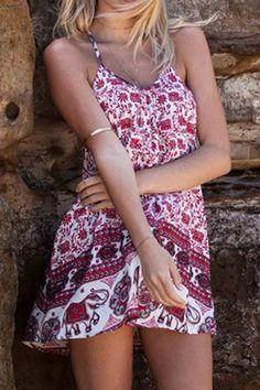 Scoop Neck Sleeveless Straight Print Dress