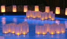 Floating water lanterns come in packs of two and are supplied with a tea light and are in white color. Each lantern needs to be assembled by the customer - very simply done - and then can be left to float for the night. They are reusable and and are 100% bio-degradable.