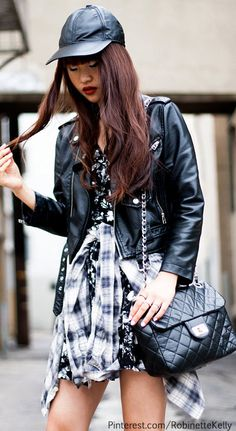 """Street Style :: Black & White Plaid Dress :: Urban #fashion"""