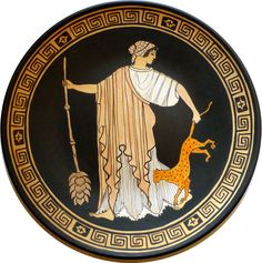 #greekpottery. Copy. Maenad (or Bacchant) with thyrsus and #panther. Ornamental plate. #Terracotta handpainted - pinned by pin4etsy.com