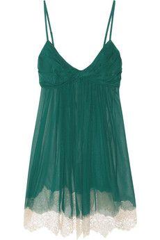 Jenny Packham|Lace-trimmed silk-chiffon chemise|NET-A-PORTER.COM