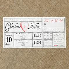 Vintage antique wedding ticket invitation £1.00