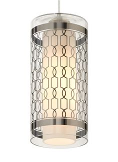 Modele Pendant Lighting – Sterling Silver Chain-Link Pattern by Tech Lighting | Part of our collection produced by EGIZIA, an Italian company known its incredible silk-screening techniques, three new patterns on hand-blown Italian glass are brought to life as light shines through a wide cylinder from an elegant inner glass diffuser. #modernlighting #homelighting #commerciallighting #ledlighting #kitchenlighting