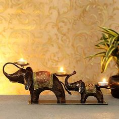 Candle Stands, Mason Jar Candle Holders, Elephant Home Decor, Elephant Art, Diwali Painting, Diwali Candles, Candles Online, Diwali Gifts, Art Corner