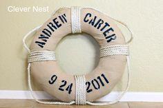 Clever Nest: Vintage DIY Life Preserver {Boys Nautical Room} - for my nephew!