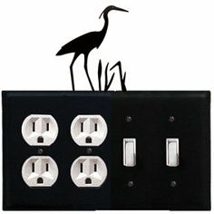 Heron - Double Outlet and Double Switch Cover by Village Wrought Iron. $18.32. Heron - Double Outlet and Double Switch CoverApprox. 8 1/4 In. W x 8 In. H Please allow 4 to 6 weeks for delivery.