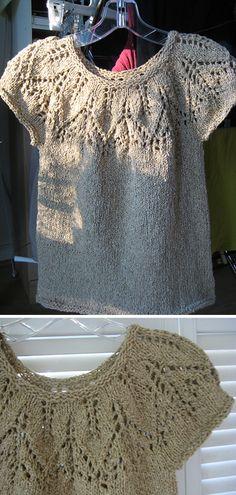 Silk Leaf Pullover - Free Pattern - New Ideas Ladies Cardigan Knitting Patterns, Knitting Patterns Free, Knit Patterns, Free Pattern, Rib Stitch Knitting, Lace Knitting, Knitting Stitches, Crochet Shirt, Knit Crochet