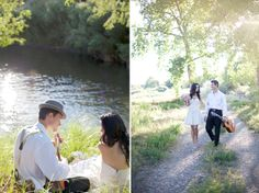 Music themed styled wedding: the groom serenading his bride with a guitar