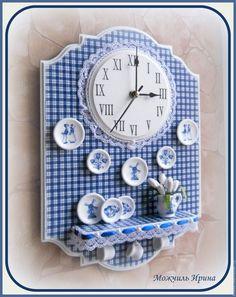 """Купить Часы панно с полочкой """" Вспоминая Голландию"""" - синий, тёмно-синий, голубой, чай"""