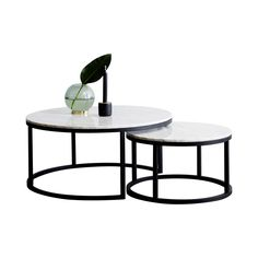 Designer Carrara Marble London Nesting Coffee Tables with Black Steel Base. Made in Australia.