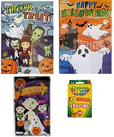 Halloween Gift And Activity Kit for Kids: Bundle of 4 Items: 2 Coloring Books, 1 Play Pack with 25 Stickers, and 1 Pack of 24 Crayons -- Awesome products selected by Anna Churchill Halloween Toys, Halloween Activities, Halloween Themes, Book Activities, Coloring Books, Coloring Pages, Scary Scarecrow, Pumpkin Jack, Kits For Kids