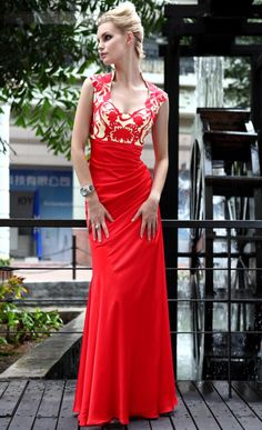 Pretty A-Line High Neckline Pattern Ankle-Length Evening/Homecoming Dress : Tidebuy.com