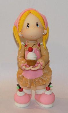 - Cupcake girl porcelana fria polymer claymasa flexible pasta francesa fimo topper fondant figurine