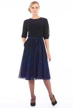 Ombre star print georgette midi dress #eShakti