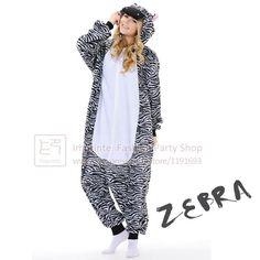 2fb0b416ba9 Cute  Zebra  Onesie Adult Animal Onesie Anime Cartoon Cosplay Costume  Fleece Winter Sleepwear Pajamas Unisex
