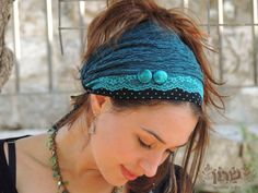 Two Buttons-Turquoise Headband tichel,Hair Snood, Head Scarf,Head Covering,jewish headcovering,Scarf,Bandana,apron