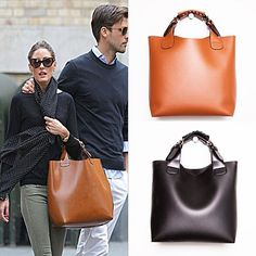 """I love this bag! I didn't see it as brown when I first saw the picture. It looks more like a cross between terra-cotta and brown.  """"Basic Tote Bag - 2 Colors - Brown & Black"""" I like that it has a removable strap and a zipper pocket. From Site: """"Measurements: about 13 3/4"""" in width, 12 1/5"""" in height, 4 1/3"""" in depth. Removable Strap: 29 1/2"""" in length."""""""