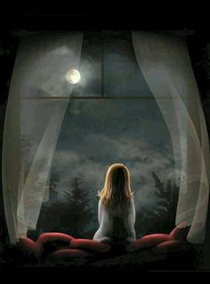 """""""At night when the stars light up my room, I sit by myself talking to the moon. Try to get to you in hopes you're on the other side talking to me too. Or am I a fool who sits alone talking to the moon"""" Ciel Nocturne, Good Night Moon, Beautiful Moon, Moon Art, Anime Art Girl, Night Skies, Belle Photo, Moonlight, Fantasy Art"""