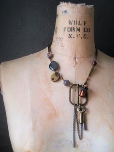 The Emissary. Antique Buckle and Key Necklace.